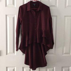 ANA Long Blouse Sz XL Burgundy long sleeves